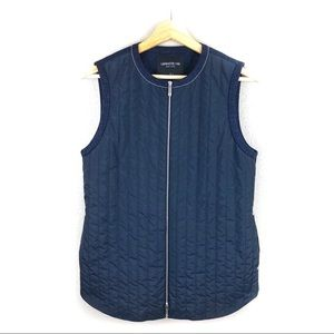 Lafayette 148 Navy Wool Blend Bailey Quilted Vest